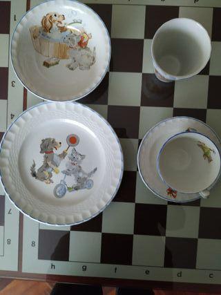 vajilla infantil porcelana española, vintage.