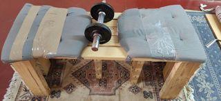 banco de pesas y mancuerna