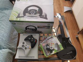 Xbox con volante, guitarra, juegos...