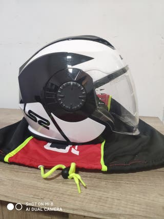 Casco LS2 Jet blanco y negro + guantes unik