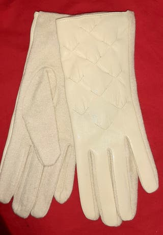 guantes de piel con lana