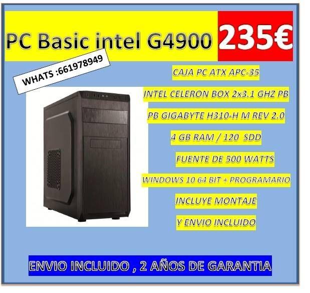 BASIC INTEL G4900 / 4 GB RAM/ 120 GB SSD/ W10 PRO