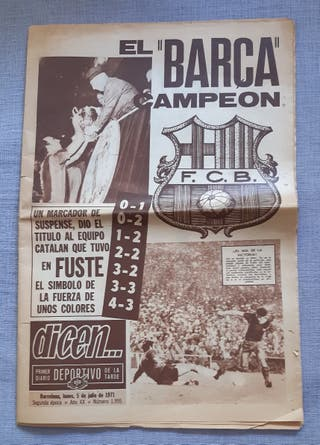 PERIODICO DICEN ANTIGUO BARÇA CAMPEON COPA 1971