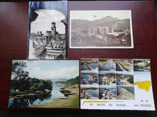 Lote de 4 postales enviadas a Santander (años 50)