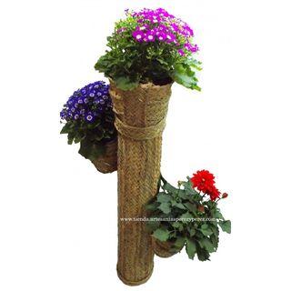 Cactus macetero de esparto para 3 macetas