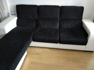 Sofa chaiselongue blanco y negro