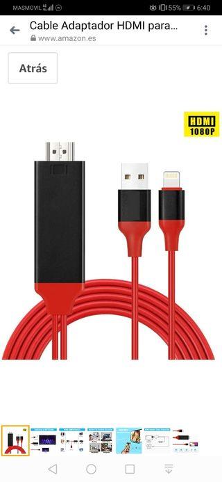 Cable Adaptador HDMI para i-Phone, Compatible con