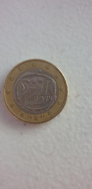 Moneda de 1 euro Eypo griega 2003