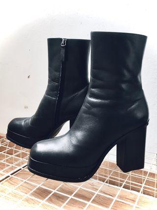 Botas de tacón - plataforma de piel cuero negro 41