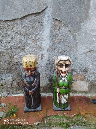 botellero antiguo pareja de ancianos de madera