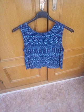 blusa estampada en azul marino