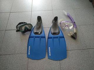 aletas buceo gafas snorkel
