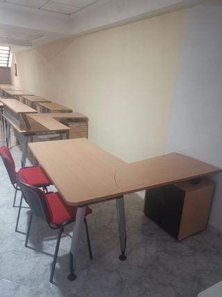 Mesa de oficina en L 165cm x 160, con mesita archi