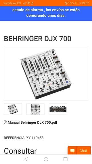 mezclador profesional dj behringer DJX 700