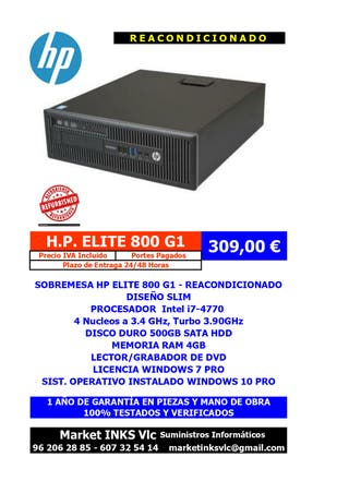 ORDENADOR REACONDICIONADO HP ELITE 800 G1