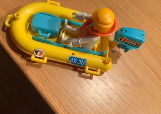 Lancha Zodiac Playmobil, barca neumática años 80