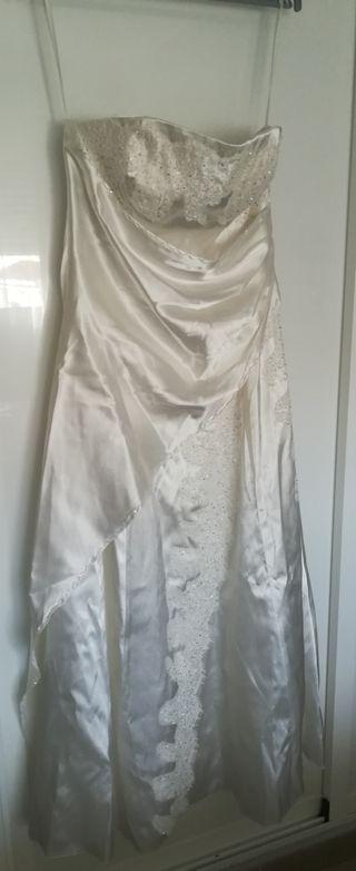 Vestido novia Poliéster Pedrería