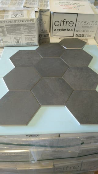 hexagono porcelanico antracita
