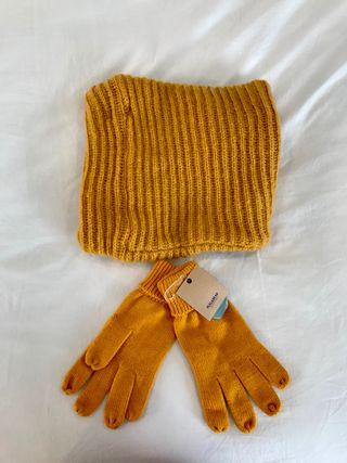 Conjunto bufanda cuello y guantes lana