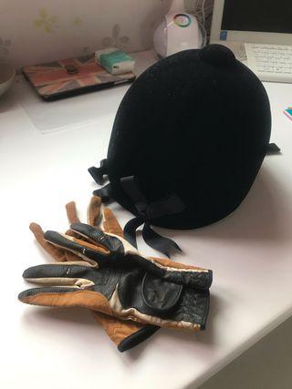 Casco y guantes hípica niñ@