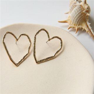 Heart shape gold/silver tone stud earring