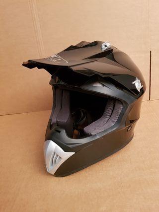 casco moto cross off-road negro brillo talla M