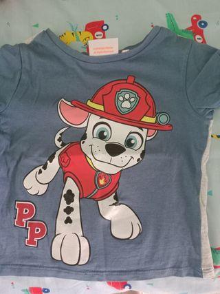 camiseta reversible patrulla canina 86/92cm