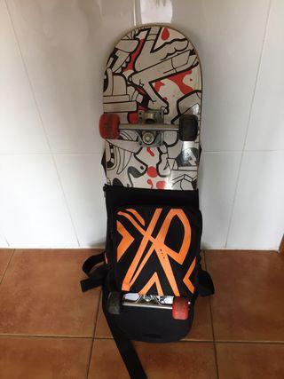 Skate con bolsa, casco y protecciones