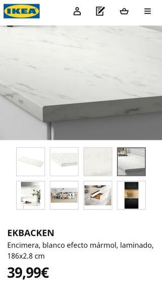 Encimera efecto mármol blanco IKEA