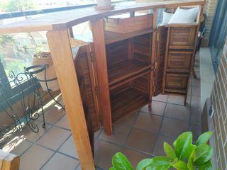 Mueble bar para terraza/jardín + 2 taburetes Teka