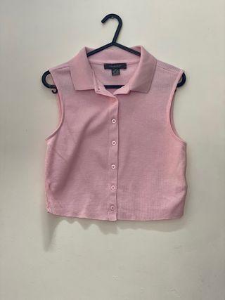 Pink collared tank top