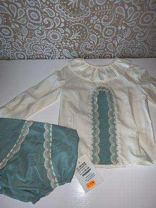 Conjunto traje ranita bebé 18 NEKENIA Verde agua