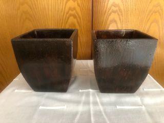 Maceteros de barro ( preciosos) imitan madera
