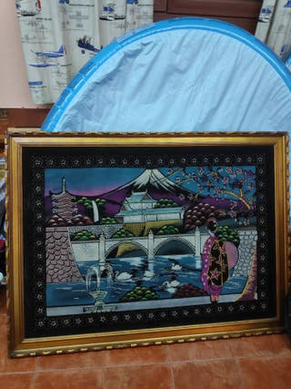 Cuadro con tapiz chino
