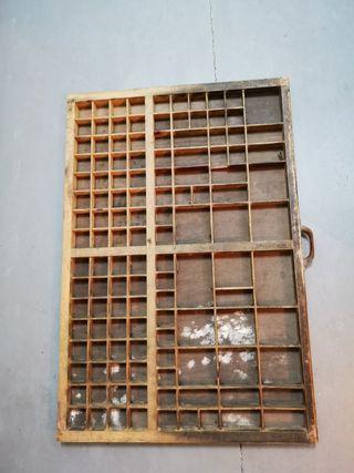 Cajón madera imprenta chibalete para restaurar