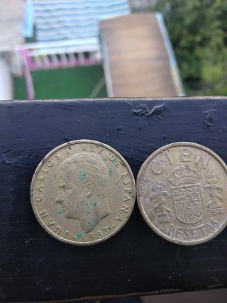 dos monedas 100 psta de 1983