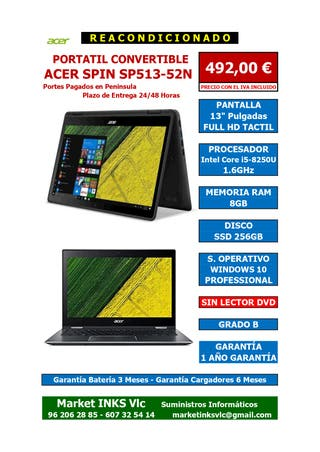 ORDENADOR REACONDICIONADO ACER SPIN SP513-52N