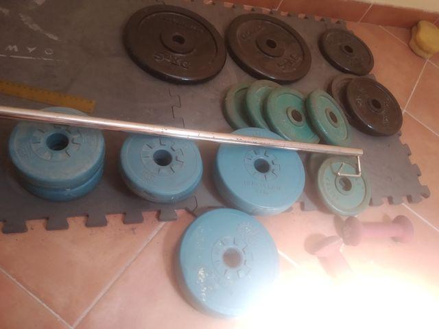 banco, Barra y discos para gimnasio