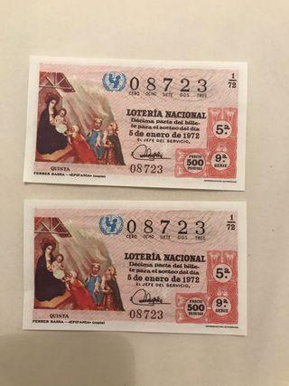 2 decimos lotería 5 enero 1972
