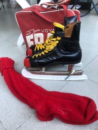 Patines de hielo con calcetines y bolsa. Talla 39