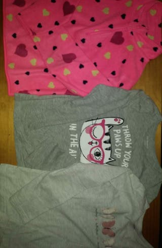 2 camisetas manga larga+forro polar niña 8 años