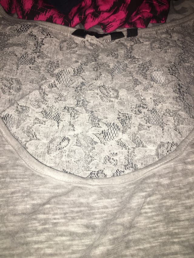 New Look Grey Lace Detail Top Size 16.