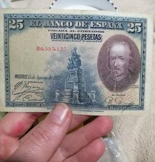 billete 25 pesetas 1928