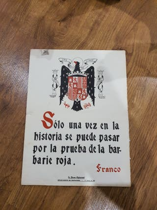 Antiguo cartel de Franco,de 1946,con sello y numer