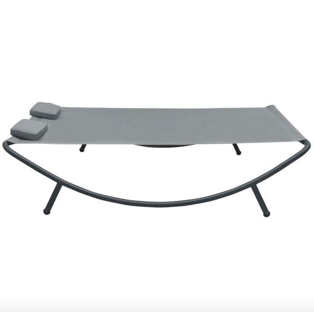 Tumbona doble de exterior de tela gris antracita