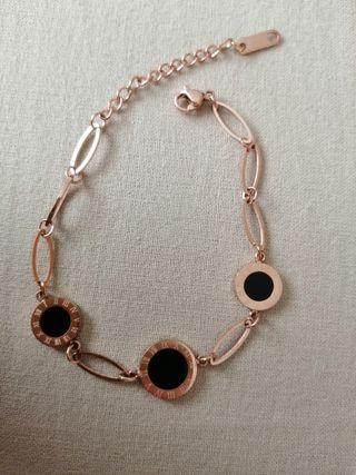 Pulsera eslabones en oro rosa (acero inox)