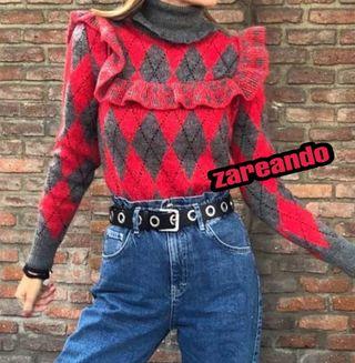 Jersey volantes rojo y gris Zara
