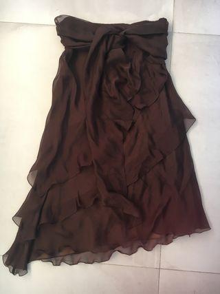 Falda gasa marrón fiesta