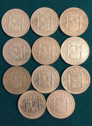 Lote de oferta 11 monedas de Plata 2 Pesetas