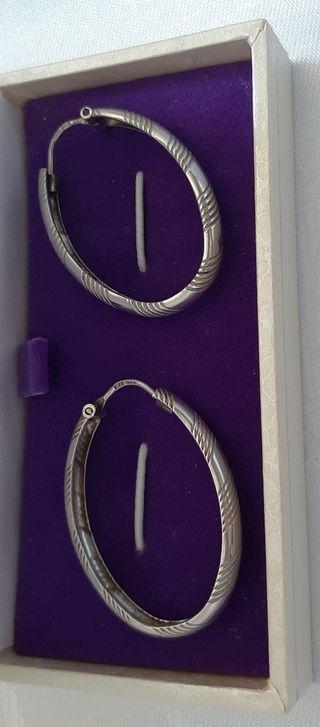 Pendientes de plata 925 aros ovalados vintage